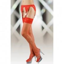 Красные чулки-сетка с поясом XL