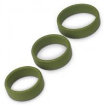 Набор из 3 плоских эрекционных колец Power Plus Soft Silicone Pro Ring зеленого цвета