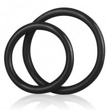 Набор из двух черных силиконовых колец разного диаметра Silicone Cock Ring set