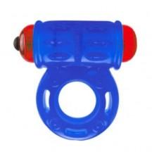 Голубое мощное вибро-кольцо со стимулятором клитора
