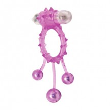 Виброкольцо с 3 утяжеляющими шариками розовое Ball Banger Cock Ring