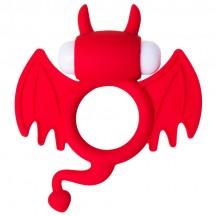 Эрекционное виброкольцо Jos Cocky Devil красного цвета