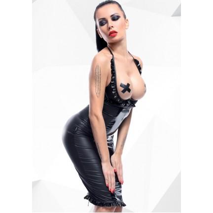 Комплект юбка и лиф с открытой грудью Danika черного цвета размер M