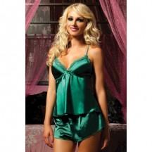 Зеленая атласная пижама с шортиками L