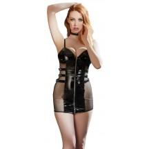Черное лаковое мини-платье Vinyl Dress S