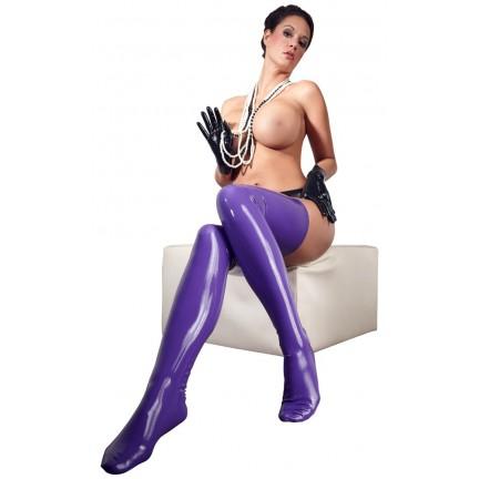 Фиолетовые длинные чулки из латекса L\XL