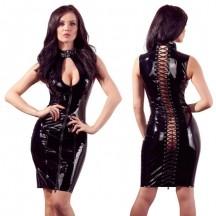 Платье лаковое черное на шнуровке Black Level L