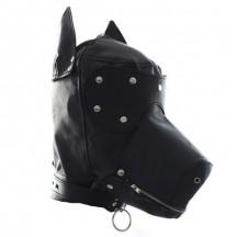 Кожаная маска-шлем собаки на шнуровке