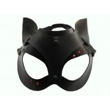 Кожаная чёрная маска со стразами и ушками Hand Made