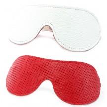 Двухсторонняя маска на глаза из натуральной кожи бело-красная