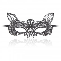 Роскошная черная кружевная маска кошечки