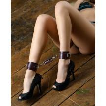 Оковы на ноги из натуральной кожи бордо
