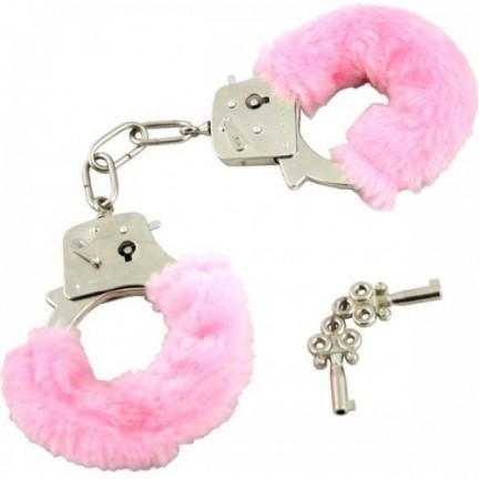 Ярко розовые металлические наручники с мехом