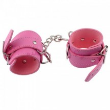 Розовые наручники с карабином