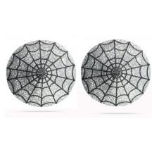 Серебристые пэстисы-паутинка для груди Reusable Glitter Heart Tassel Nipple Pasties