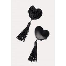 Черные пэстисы в форме сердец с розами и кисточками