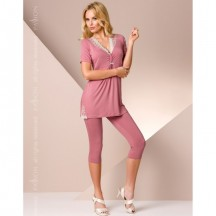Розовая ночная пижама M