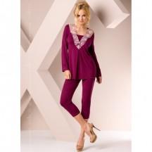 Ночная пижама фиолетового цвета с вышивкой M