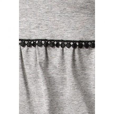 Серая пижама с черным гипюром M