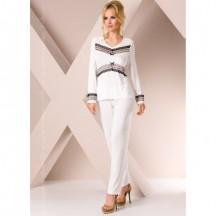Ночная пижама белого цвета с кружевом L