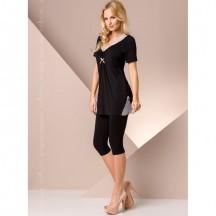 Черная ночная пижама M