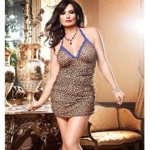 Эротическое мини-платье с леопардовым принтом 3XL/4XL
