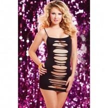 Черное двустороннее платье с горизонтальными вырезами