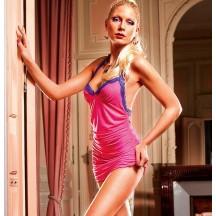 Эротичное розовое платье с кружевной отделкой и открытой спиной S