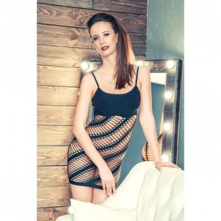 Черное бесшовное платье-сетка