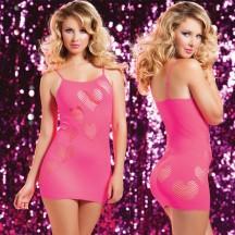 Розовое бесшовное платье сердцеедки