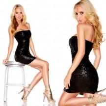 Черное платье-бандо с пайетками The Sparkling Queen M