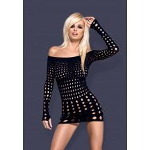 Черное платье-сетка с длинными рукавами Rocker S/L