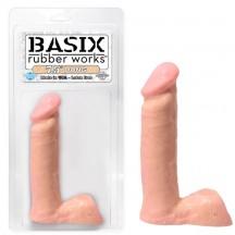 Телесный фаллос с мошонкой Basix 7,5in