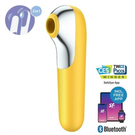 Клиторальный стимулятор + вибратор 2 в 1 Satisfyer Dual Love с управлением через смартфон желтый