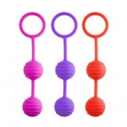 Вагинальные шарики Kegel ball розовые с рельефным рисунком