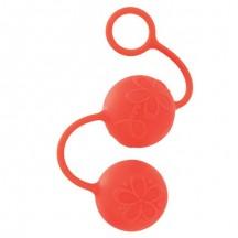 Яркие силиконовые вагинальные шарики с цветками оранжевые