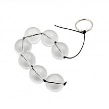 Анальная цепочка со стеклянными прозрачными бусинами диаметром 2,5 см