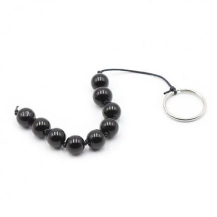 Анальная цепочка со стеклянными бусинками Anal bead черная