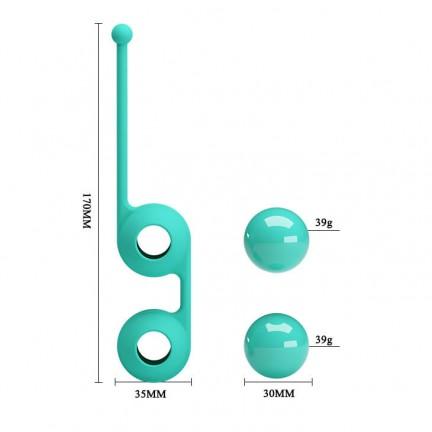 Утяжелённые вагинальные шарики со смещённым центром тяжести мятного цвета
