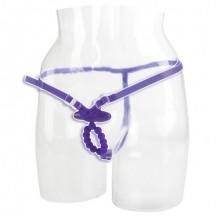 Фиолетовые силиконовые трусики с массажерами для пениса и вибростимуляцией клитора Love Rider