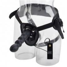 Страпон с черным силиконовым вибродилдо Thruster