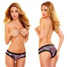 Женские блестящие серебристо-розовые трусики Hustler с кружевом SM