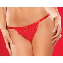 Трусики из гипюра красные Crotchless XL