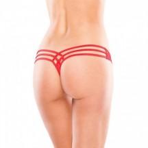 Трусики-тонг с необычным дизайном красные