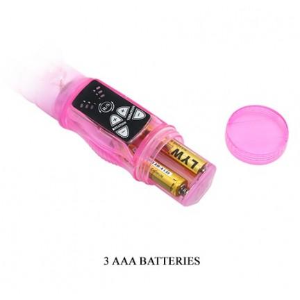 Розовый вибратор с ротацией и клиторальной стимуляцией