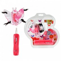 Розовая вибро-бабочка на ремешках Butterfly Mini с проводным пультом